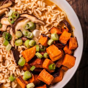 Vegetarian miso ramen with roasted sweet potatoes